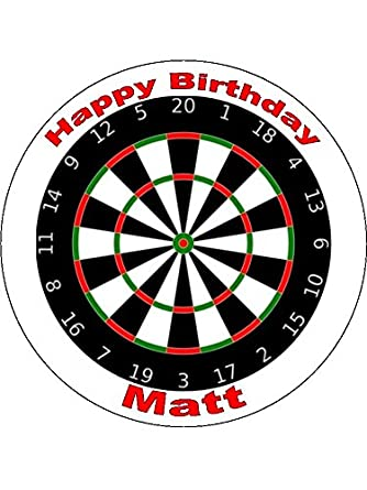 """DART BOARD 7.5/"""" ROUND EDIBLE ICING BIRTHDAY CAKE TOPPER /& 18 CUPCAKE TOPPERS"""