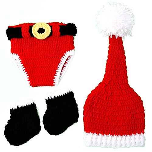 [Pixnor Christmas Baby Props Infant Newborn Costume Photography Prop Santa Claus Knitted Outfit] (Infant Santa Costumes)