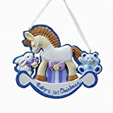 Pack of 12 Blue Boys Rocking Horse ''Baby's 1st Christmas'' Ornaments for Personalization 3.75''