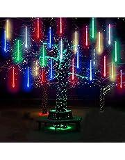 WONFAST LED Meteor Shower Solar Lights Garden, Waterproof 30cm 10 Tubes 360LEDs Falling Raindrop Cascading Decorative String Lights for Holiday Party Wedding Christmas Tree Decoratio (Mulitcolor)