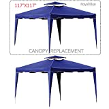 Cloud Mountain 117″ X 117″ Gazebo Replacement Canopy Top Cover, 2-tier UV Protect Resist Light Rain for Outdoor Patio Lawn Sun Shade Tent, Royal Blue (Only Replacement Cover) Review