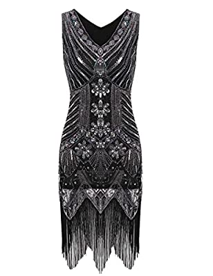 Lantusi Women's Gatsby Sequin V Neck Sleeveless 1920s Vintage Tassel Sequined Flapper Dress
