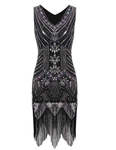 Lantusi Women's Gatsby Sequin V Neck Sleeveless 1920s Vintage Tassel Sequined Flapper Dress Silver XL -