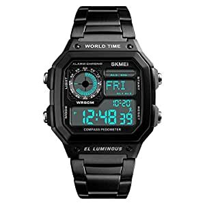 Men's Word Time Digital Sport Watch Dual-Time Countdown Alarm Luminous Stainless Steel Band Watch (Black)
