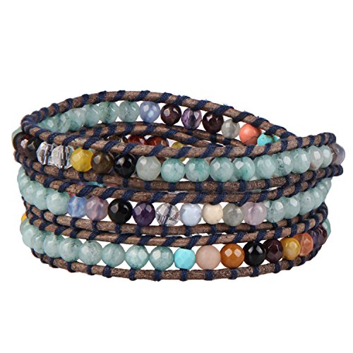 KELITCH Jade Agate Beaded 3 Wrap Bracelet New Summer Chain (Green) (Jade Leather)