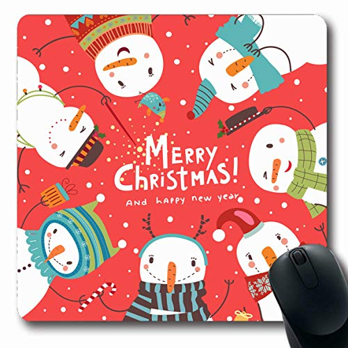 - Ahawoso Mousepad Oblong 7.9x9.8 Inches Celebrate Snowman Christmas Round Dance Snowmen Holidays December Cute Character Graphic Family Happy Office Computer Laptop Notebook Mouse Pad,Non-Slip Rubber