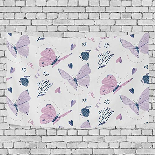 LittleLuck Wall Hanging Hand Painted Butterflies Watercolor Modern Tapestries Artwork Polyester Fabric Cottage Dorm Bedroom Living Room Wall Art Wall Blanket Home Decoration 60X51IN