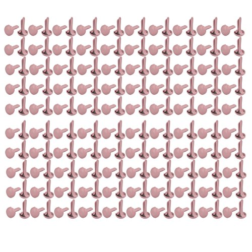 uxcell 9mmx4.5mm Iron Round Paper Brad Fasteners Pink for Scrapbooking Craft 500pcs ()