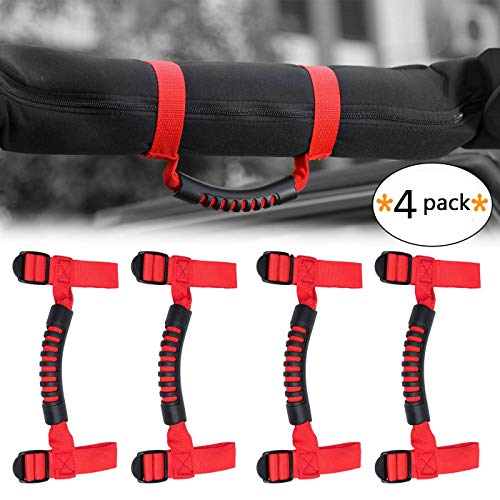 - Roll Bar Heavy Duty Grab Handle with Adjustable Straps for Jeep Wrangler YJ TJ JK JL Sports Sahara Freedom Rubicon X Unlimited 1955-2018 (4 pack-Red)