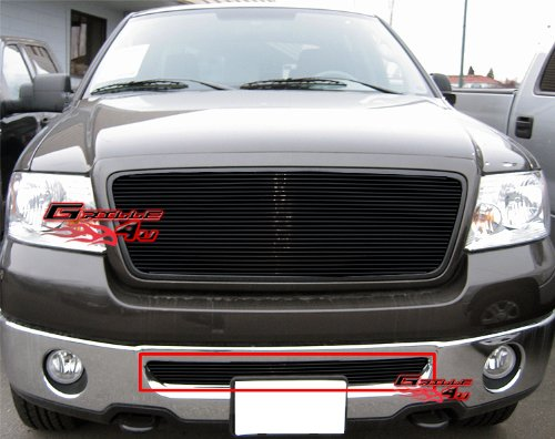 APS Compatible with 2006-2008 Ford F-150 Bumper Black Billet Grille Insert S18-H25356F