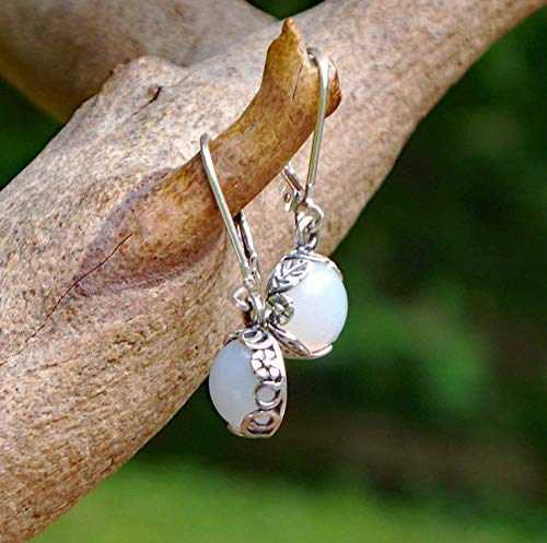(Recycled Vintage White 1960's Cold Cream Bottle Sterling Silver Botanical Leverback Earrings)