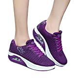 Ankola Outdoor Sport Shoes Women Mesh Casual Sports Shoes Thick-Soled Air Cushion Shoes Sneakers (US:6.5, Purple)