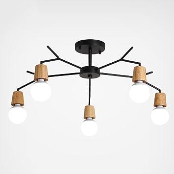 KYDJ ® Nordic Style Led Birne Holz Lampe Körper Klebrige Kronleuchter  Wohnzimmer Schlafzimmer 3/5