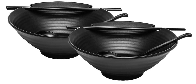 2 x Ramen Bowl Set (Black Melamine), Japanese Style Soup Bowls with Chopsticks and Ladle Spoons Set, Large 37 oz for Ramen, Noodles, Pho, Udon or any Soup Meal