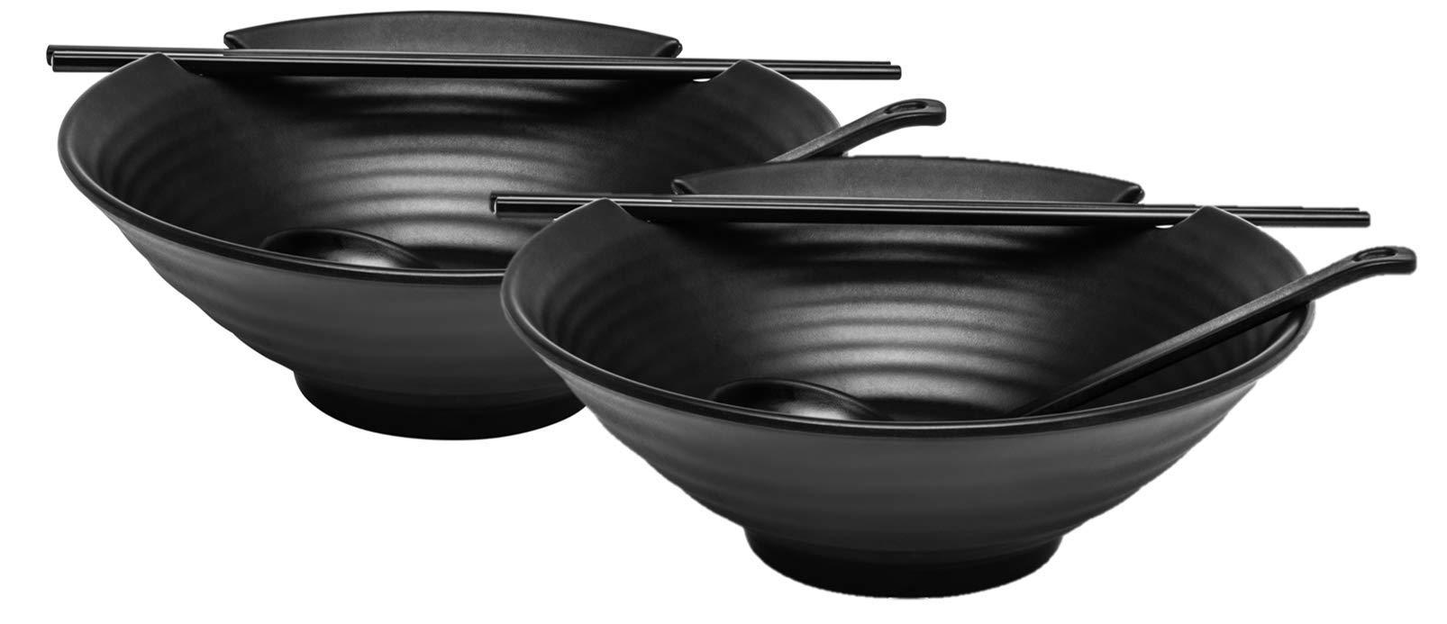 2 x Ramen Bowl Set (Black Melamine), Japanese Style Soup Bowls with Chopsticks and Ladle Spoons Set and Large 37 oz Bowl