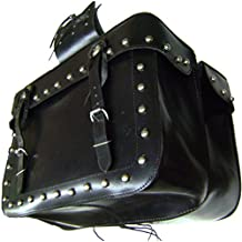 """Modestone Solid Pair Leather Saddle Bags Metal Studs, Embossed Eagles, Fringed Metal Conchos, 18"""" x 12 3/4"""" x 6 1/3"""" Black"""
