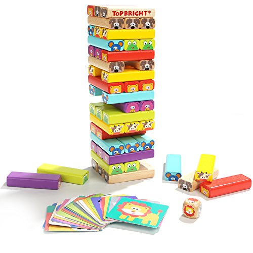 TOP BRIGHT Colored Wooden Blocks stacking board games kids ages 4-8 51 pieces by TOP BRIGHT