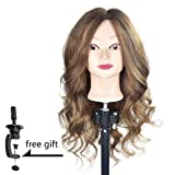 "20"" -22"" Training Head 100% Human Hair Mannequin Head Manikin Doll Head Hair Styling Head with Free Clamp"