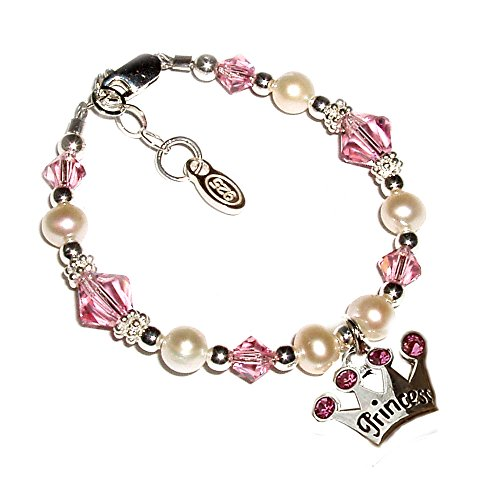 Girls Sterling Silver Princess Tiara Bracelet with Cultured Pearls and Pink Swarovski Crystals (1-5 years)