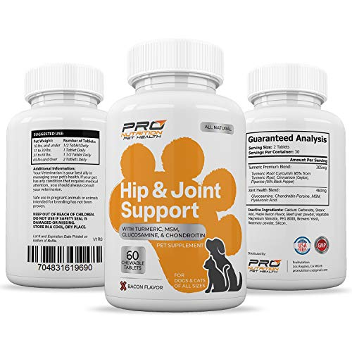 Hip & Joint Supplement- Improves Mobility, Joint Flexibility, Arthritis Pain Relief. Powerful Ingredients Turmeric, Chondroitin, Glucosamine & MSM. Soft Chewable Bacon Flavor Tablet for Dogs & Cats. (Dog Car Ramps Best Prices)