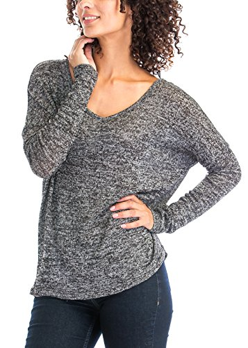 Thin Sheer See-Through Heather Wide Open Scoop Boat Neck Lightweight Knit Sweater Tops