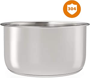 Stainless Steel Inner Pot Replacement Insert Liner Accessory Compatible with Ninja Foodi 6.5 Quart, By Sicheer