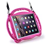 Surom Kids Case for New iPad 9.7 2018/2017-Light Weight Shockproof Silicone Handle Stand Case Cover with Shoulder Strap Lanyard for iPad 9.7 2018/2017/iPad Air/iPad Air 2 - Rose Pink