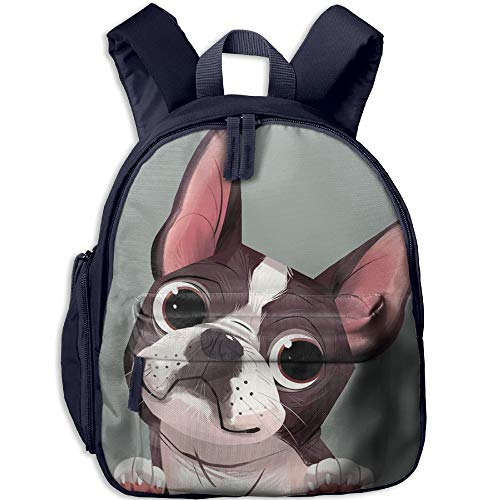 Cartoon Boston Terriers Bulldog School Book Bag Cute Shoulders Bags Backpack Bag For Girls ()