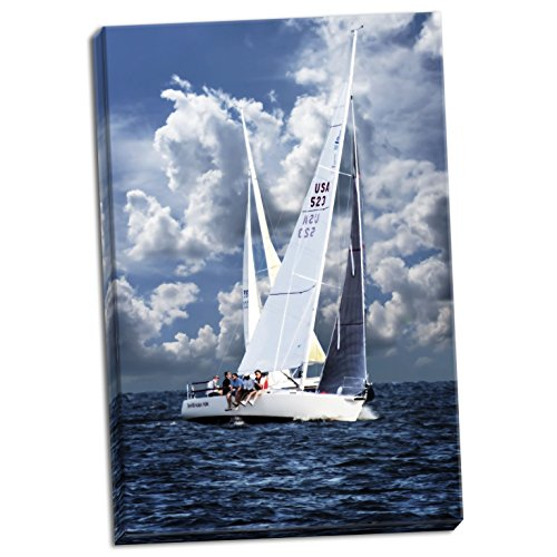 Gango Home Décor Crossing Sailboats, Fine Art Photograph by: Alan Hausenflock; One 24x36in Hand-Stretched Canvas