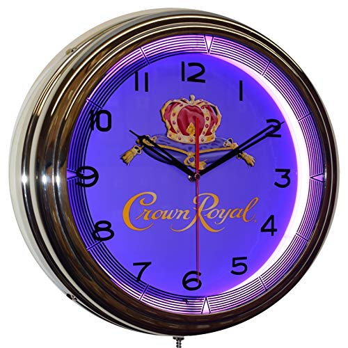Crown Royal Whiskey Neon Advertising Clock Man Cave Bar Decor (Crown Royal Neon Clock)