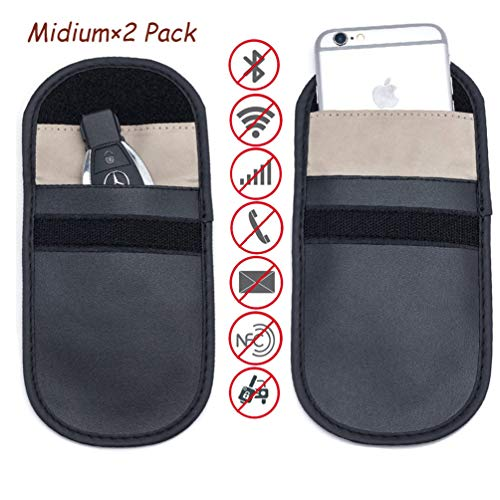 2X Car Key Signal Blocker Bag for Keyless Entry Fob Protector Rfid Blocking Case,Defend WIFI/GSM/LTE/NFC/RF Remotes Control Antitheft Lock Devices Shielding Healthy Cell Phone Credit Card Protection
