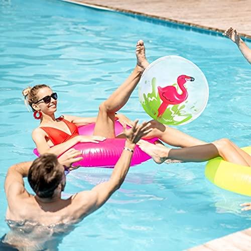 VGOODALL Aufblasbare Wasserball, 3 Stücke 3D Strandball mit Aufblasbare Einhorn Krabbe Flamingo Spielzeug Wasserbubble für Sommer Pool Party Spiele Aktivitäten Durchmesser 30cm
