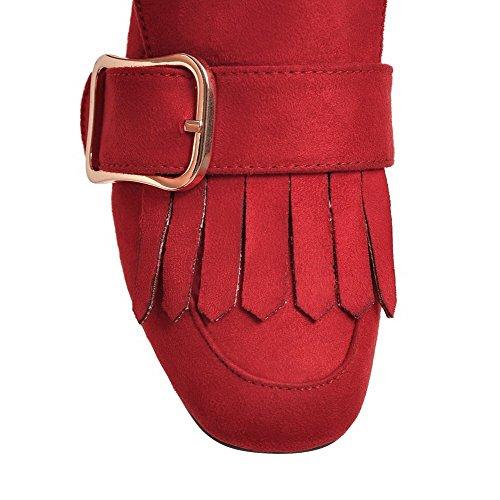 Odomolor Women's Pu Pull-On Square-Toe Kitten-Heels Soild Court Shoes Red joNbdK