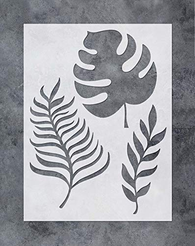 GSS Designs Palm Frond Wall Art Stencil - Tropical Banana Leaf Painting Airbrush Stencil (12x16inch) - Reusable Template for Wood Canvas Furniture Wall Home Decor (SL-054) -