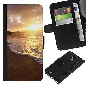 LASTONE PHONE CASE / Lujo Billetera de Cuero Caso del tirón Titular de la tarjeta Flip Carcasa Funda para Samsung Galaxy S4 Mini i9190 MINI VERSION! / Nature Water Sunset