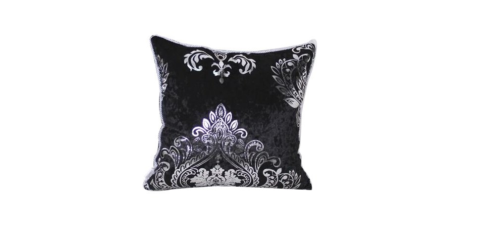 HYSENM Square 18x18 Luxury Velvet Silver Patterns Pillow Case Sham Cover Throw Cushion Cover Office Home Hotel Décor, Black 18''X18''