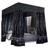 Obokidly Princess 4 Corner Post Bed Curtain Canopy;Windproof Lightproof Bed Canopy Mosquito Net Bedroom Decoration for Adults Girls Bed Canopies Child Gift (Black, King)