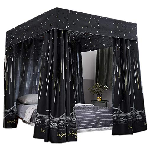 Four Poster Canopy (Obokidly Princess 4 Corner Post Bed Curtain Canopy;Windproof Lightproof Bed Canopy Mosquito Net Bedroom Decoration for Adults Girls Bed Canopies Child Gift (Black, California King))