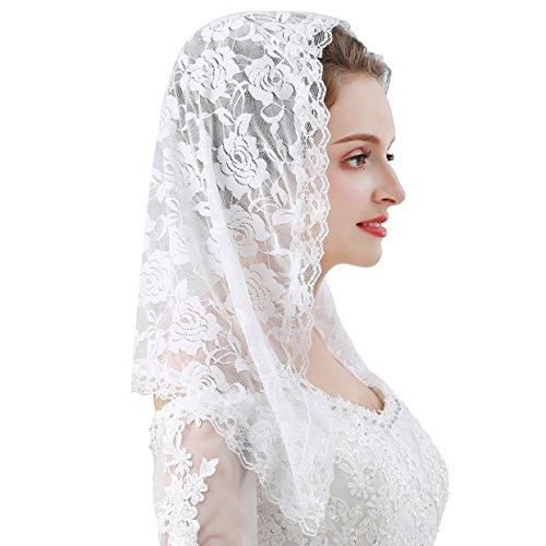 Czy accessories Veil Lace Mantilla Catholic Church Chapel Veil Head Covering Latin Mass (White)