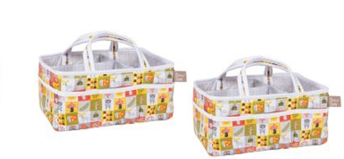2 Pack ofOlive Owl Storage Caddy, Diaper Stackers