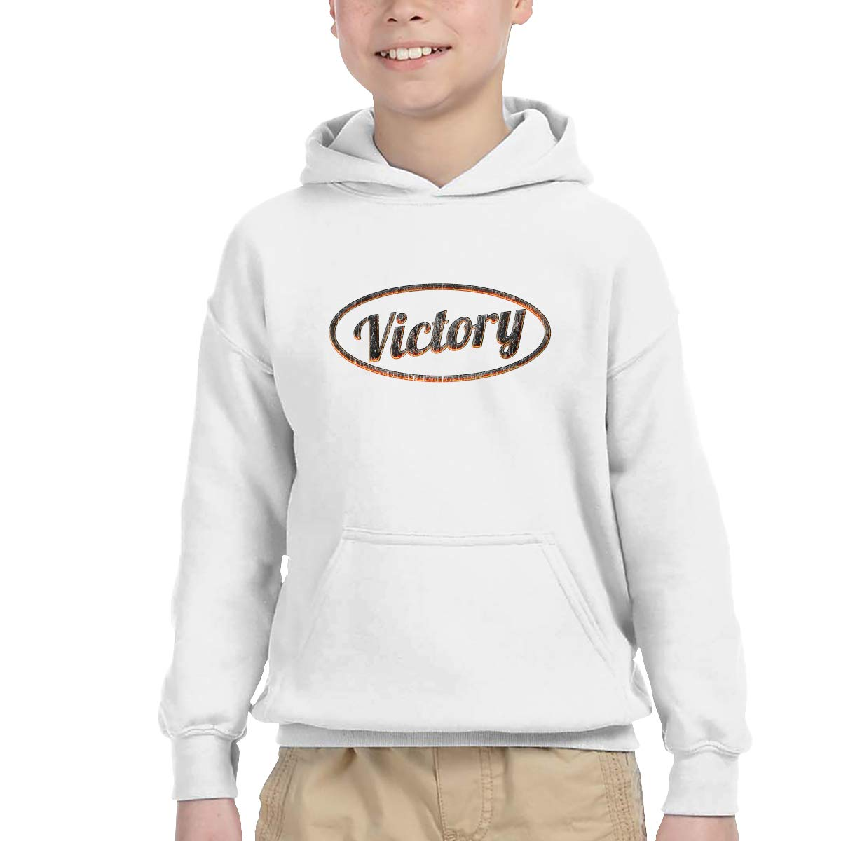 Kids Victory Casual Pullover Long Sleeve Hoodie Sweatshirts Gray