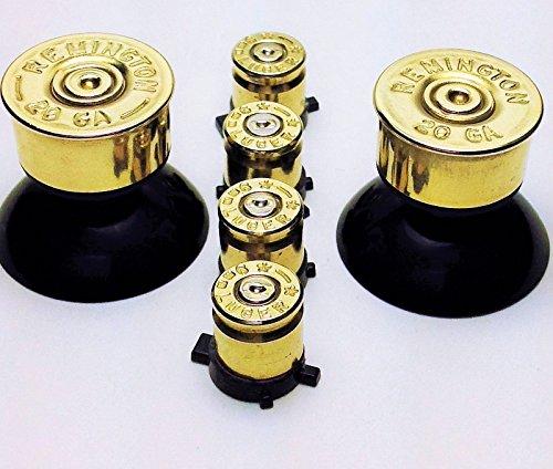 Remington 9mm Luger (Sony PlayStation 4 Wireless Controller Brass Bullet Buttons ps4 Mod Kit. Ps4 9mm Bullet Buttons+20g Brass Shotgun Shells Analog Sticks. DualShock 4 Wireless Gamepad Self Install Replacement Buttons)