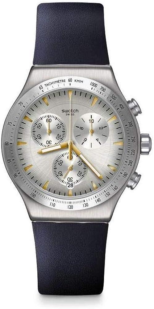 Swatch Reloj Cronógrafo para Hombre de Cuarzo con Correa en Cuero YVS460