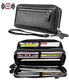 YALUXE Women's RFID Blocking Security Double Zipper Large Smartphone Wristlet Leather Wallet Black