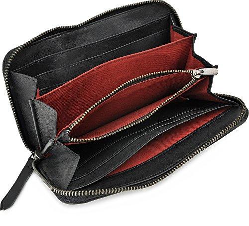 MASQUENADA, Leder Damen Geldbörsen, Börsen, Portemonnaies, Brieftaschen, 19,5 x 11 x 2,5 cm (B x H x T), Farbe:Schwarz Schwarz