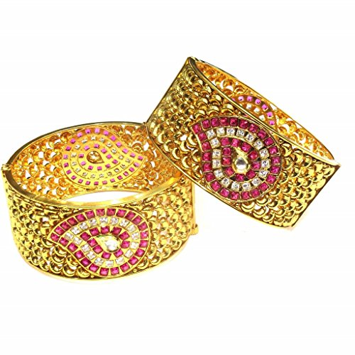 Jewelshingar Jewellery Antique Gold Plated Bangles For Girls ( 16224-m-ruby-2.8 ) by Jewelshingar