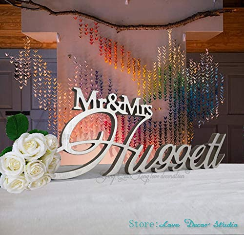 Amazon.com: Mr & Mrs apellido mesa de boda cartel signo de ...