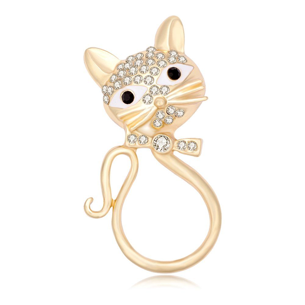 BEICHUANG Cute Bow Beard Crystal Cat Eyeglass Sunglass Holder Elegant Brooch Pin Jewelry (gold)