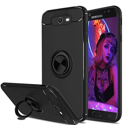 Galaxy J7 Sky Pro, J7 Perx Case, J7 V Case, Elegant Choise Hybrid Slim Durable Soft 360 Degree Rotating Ring Kickstand Protective Case with Magnetic Case for Samsung Galaxy J7 2017 (Black)