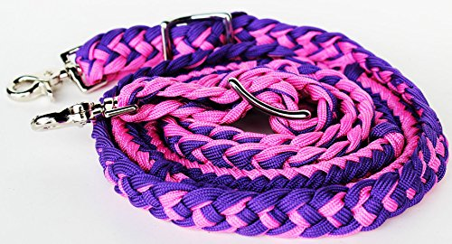 - PRORIDER Horse Knotted Roping Western Barrel Reins Nylon Braided Rein Pink Purple 607131